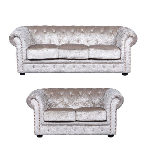 Chesterfield Luxury Velvet 3+2 Sofa Set - Taupe