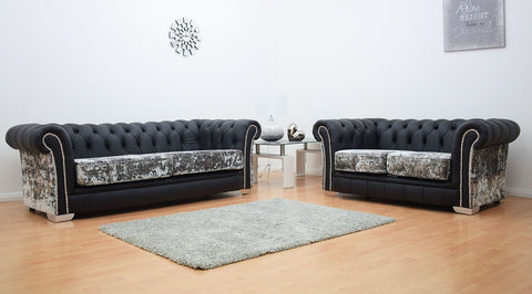 Warwick Chesterfield Black Leather & Velvet Sofa Suite