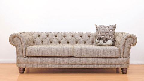 Warwick Chesterfield Chenille Fabric Sofa Suite - Light Brown