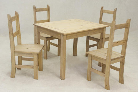 Solid Pine Wooden Dining Table with 4 Chairs