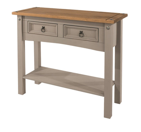 Corona Washed Grey 2 Drawer Console Table