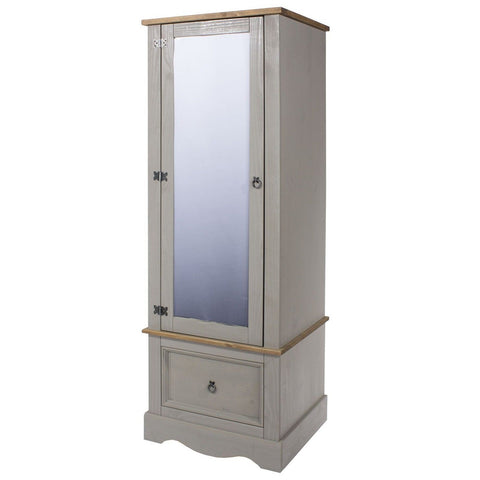 Corona Washed Grey 1 Door Mirrored Armoire