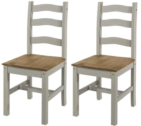 Corona Washed Grey Dining Chairs - Set of 2