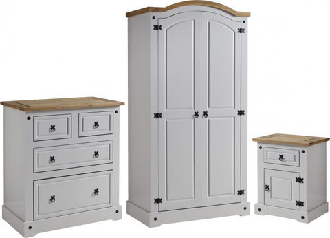 Corona 3 Piece Bedroom Set in Grey/Distressed Waxed Pine
