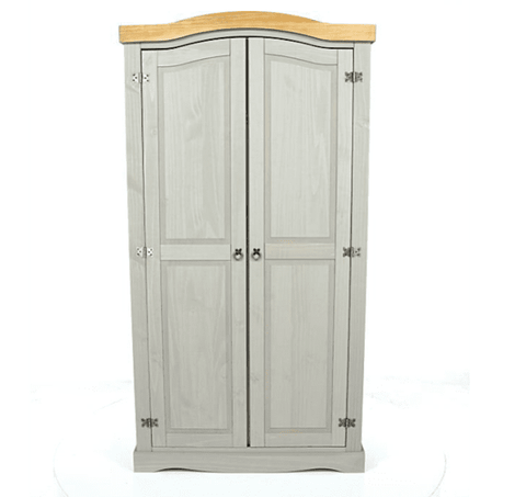 Corona Washed Grey 2 Door Wardrobe