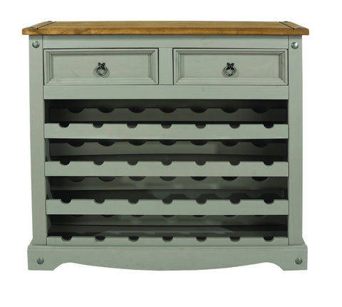 Corona Grey Washed 2 Drawer Large Wine Rack