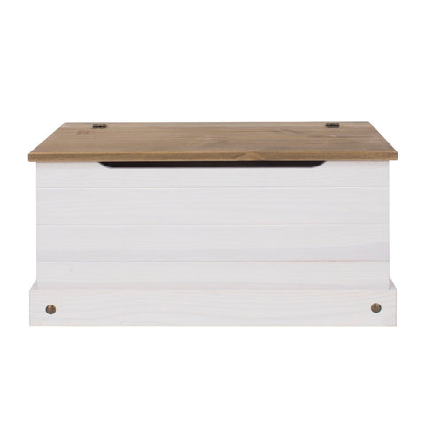 Corona Premium White Washed Ottoman Storage Box
