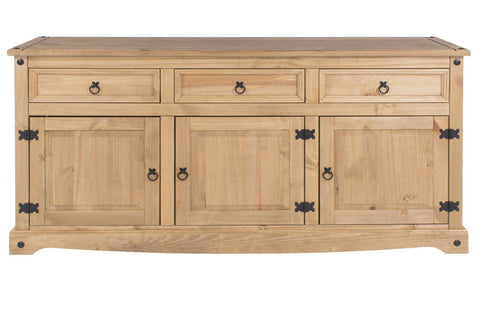 Corona Solid Pine 3 Door 3 Drawer Wide Sideboard