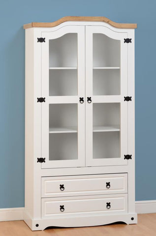 Corona 2 Door 2 Drawer Glass Display Cabinet - White/Distressed Waxed Pine