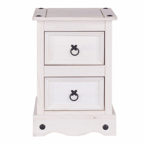 Corona White Washed 2 Drawer Bedside Table