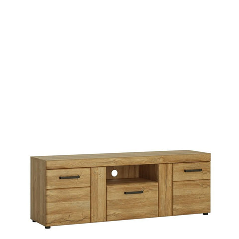 Cortina 2 door 1 drawer tall TV cabinet in Grandson Oak Finish