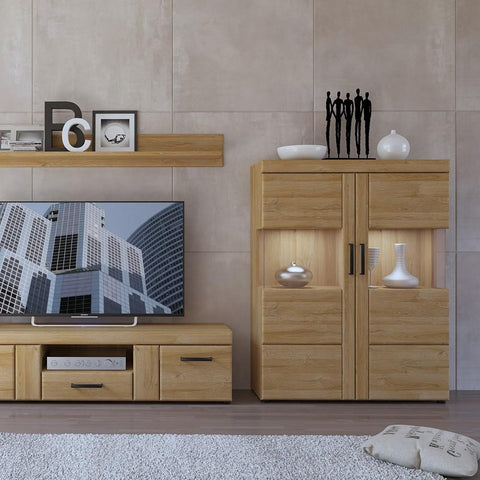 Cortina Low wide 2 door display cabinet in Grandson Oak Finish