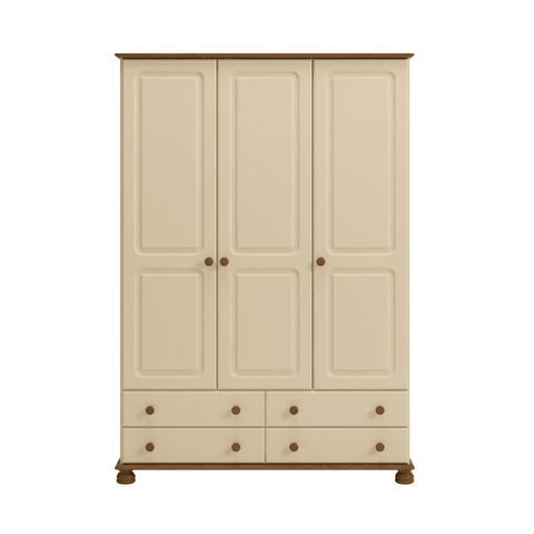 Large Cream & Pine Wardrobe with 3 Doors