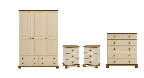 Forest Cream & Pine Furniture Set (2x Bedside, 2+4 Chest, 3 Door Wardrobe)