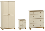 Forest Cream & Pine Furniture Set (Bedside, Deep Chest Of Drawers, 2 Door Wardrobe)