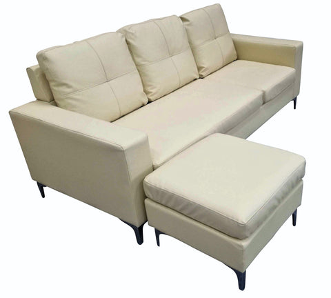 3 Seater Faux Leather Sofa With Matching Stool - Cream or Black