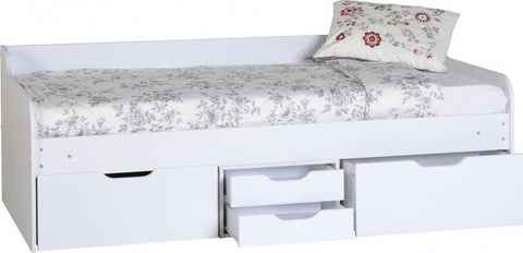 Dante Day Bed With Storage Drawers in White