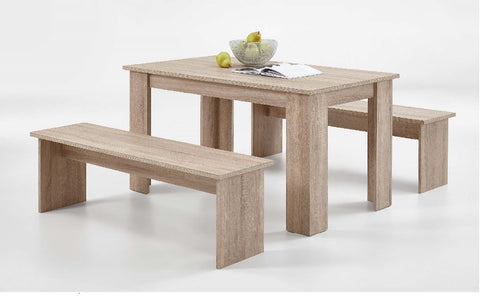 Dante Oak Effect Dining Table Set With Bench Seating