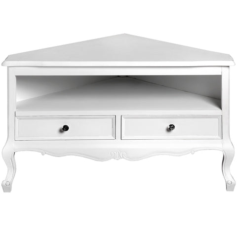 Fleur White 2 Drawer Corner TV Unit