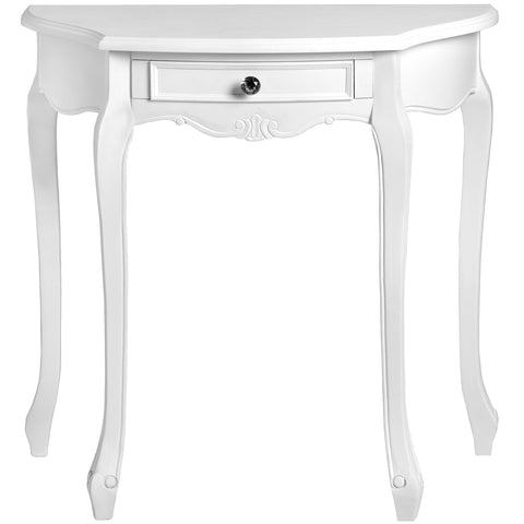 Fleur White Half Moon 1 Drawer Console Table
