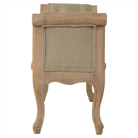 Hand Carved French Bedroom Bench Upholstered in Mud Linen