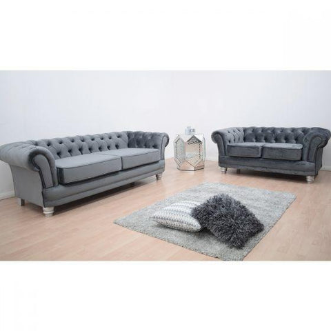 Warwick Chesterfield Grey French Velvet Sofa Suite