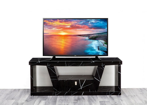 Black Marble Effect High Gloss 1 Drawer TV Unit