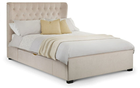Geneva Storage Bed with 2 Drawers - Pearl Chenille - Double & King Size