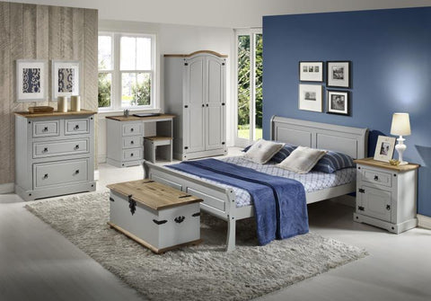georgia wooden sleigh double bed in grey or white