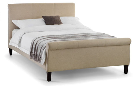 Grosvenor Sand Linen Fabric Scroll Bed - Double & King Size