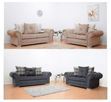 Grosvenor Scatter Back Scroll Armrests Sofa Set - Grey & Brown