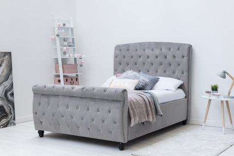 Hampton Luxury Grey Velvet Upholstered Sleigh Bed Frame - Double & King Size