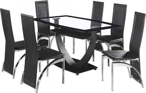 Henley Clear Glass Dining Table with 6 Chairs Set in Black or White