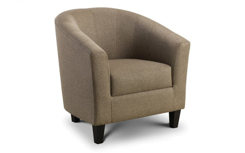 Hugo Fabric Tub Chair - Mushroom Linen Fabric