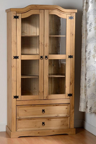 Corona 2 Door 2 Drawer Glass Display Unit in Distressed Waxed Pine/Clear Glass