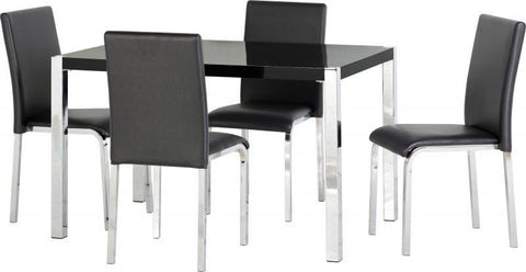 Charisma 4' Dining Set in Black Gloss/Chrome/Black Faux Leather