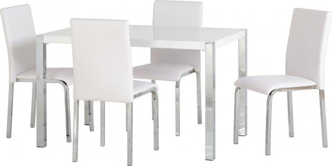 Charisma 4' Dining Set in White Gloss/Chrome/White Faux Leather