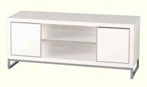 Charisma 2 Door 1 Shelf Flat Screen TV Unit in White Gloss/Chrome
