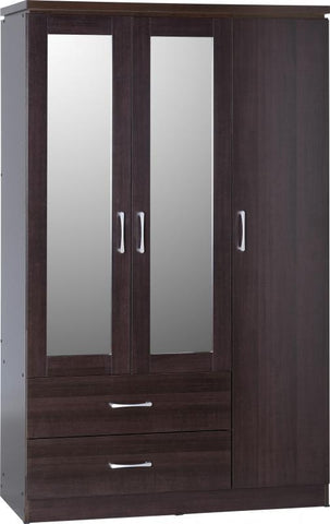 Charles 3 Door 2 Drawer Mirrored Wardrobe in Walnut Effect Veneer