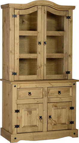 Corona 3' Buffet Hutch in Distressed Waxed Pine/Clear Glass