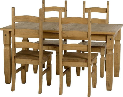 Corona 5' Dining Set in Distressed Waxed Pine