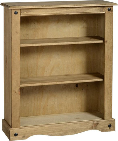 Corona Low Bookcase in Distressed Waxed Pine