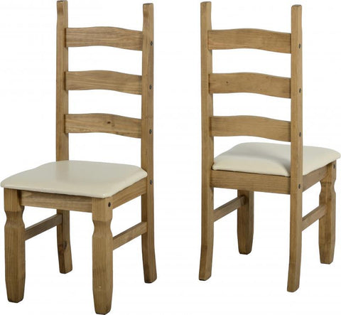 Corona Chair (PAIR) in Distressed Waxed Pine/Cream Faux Leather