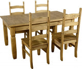 Corona Extending Dining Set (1+4) in Distressed Waxed Pine