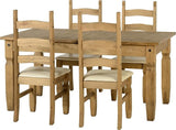 Corona Extending Dining Set (1+4) in Distressed Waxed Pine/Cream Faux Leather