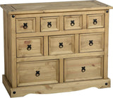 Corona 4+3+2 Drawers Merchant Chest in Distressed Waxed Pine