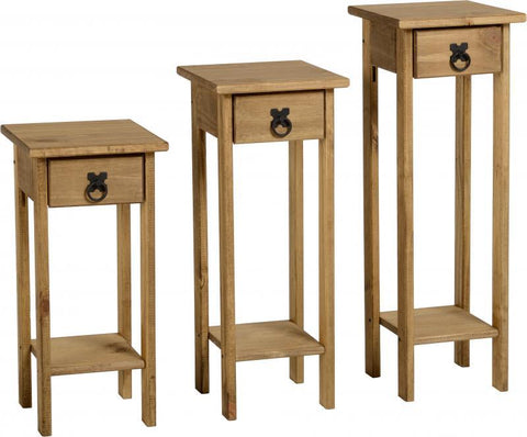 Corona Plant Stands (Set of 3) in Distressed Waxed Pine