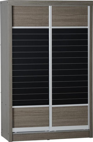 Lisbon 2 Door Sliding Wardrobe in Black Wood Grain