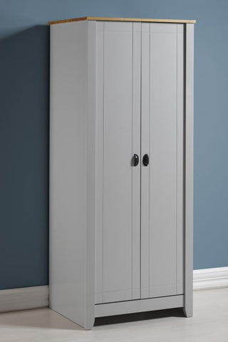 Ludlow 2 Door Wardrobe In Grey/Oak Lacquer