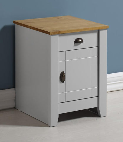 Ludlow 1 Drawer 1 Door Bedside Table In Grey/Oak Lacquer